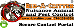 Rid-A-Critter Animal and Pest Control Logo with Green Padlock - Secure Contact System